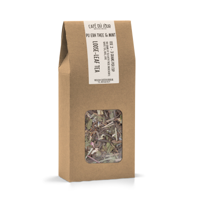 Pu Erh & Mint - Pu-Erh thee 100 gram - Café du Jour losse thee