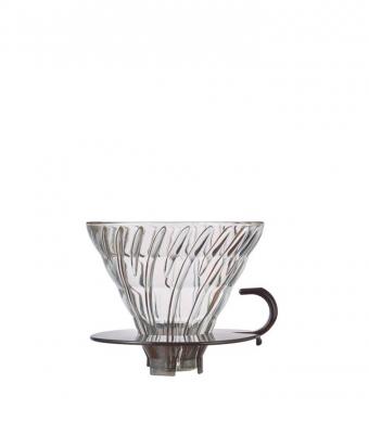 Hario V60 glas dripper transparant zwart maat 02