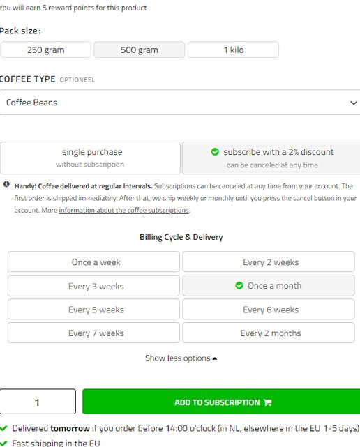 Voorbeeld koffieabonnement